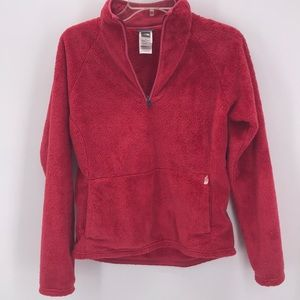 THE NORTH FACE FUSCIA PULLOVER HALF ZIP FLEECE TOP